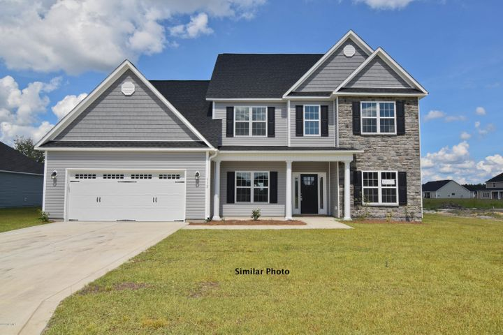 Welcome to the prestigious new home community, The Preserve at Tidewater. A coastal community. Brand new homes by Onslow County's most trusted and preferred builder, featured in Builder 100/ Top 200 Building firms in the country. This prominent neighborhood boasts a picturesque entrance, matured trees, spacious lots and a feeling of nature and serenity. Complete with an impressive clubhouse area and community pool.  Introducing the Burton floor plan which offers 4 bedrooms, 2.5 bathrooms, a bonus room and an office with approximately 3088 heated square feet. The front of the home is covered with easy to maintain vinyl siding, accented with either stone or brick and a sodded front yard. The front porch offers plenty of space for your rocking chairs and enjoying the upcoming Carolina sunrises and sunsets. The lovely foyer presents a great welcome for your guests and a seamless transition into the formal living room. The formal dining room flows directly into the kitchen. The generously sized kitchen features granite counter tops and a stainless steel appliance package to include the dishwasher, microwave hood, and smooth top range.  The kitchen is open to a large breakfast nook and the oversized family room complete with fireplace. Just off of the breakfast area there is access to the laundry room and large master suite that is sure to impress! The master suite features a trey ceiling, ceiling fan, and master bathroom and master walk-in closet. The master bathroom includes a double vanity with cultured marble counters and full mirror, water closet, separate shower and soaking tub. On the second floor there is a nice sized office and the 3 remaining well apportioned bedrooms each with their own walk in closet. At the end of the hallway you will find the humungous bonus room! Wander outside to your covered back patio, the perfect place to gather for BBQ's or those warm Carolina evenings. Your two car garage is the perfect place to keep your vehicles safe from the weathe