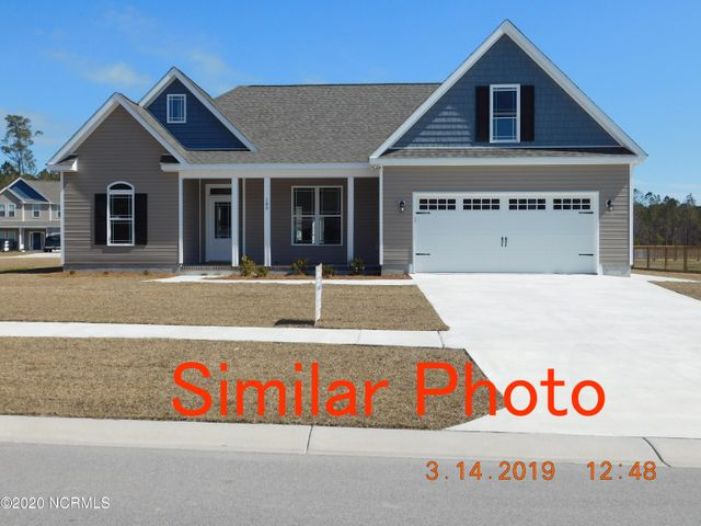 New Home in Swansboro's Shadow Creek Estates. Corner Lot with Side Load Garage Entry.( Floor Plan Shows Front Load.) 4 Bedroom 2 Bath( 4th Bdr/Bonus Room with Closet. Covered Front and rear Porches. Home features LVP Flooring throughout main Level with Carpet on stairs and Upper Level Bedroom/Bonus. Granite Counter tops in Kitchen with upgraded Cabinets and Stainless Steel appliances. 9ft smooth ceilings. TIME TO PICK COLORS. Located just 2 miles off Hwy. 24. Close to Schools,Shopping and Military Bases. Plans subject to change.