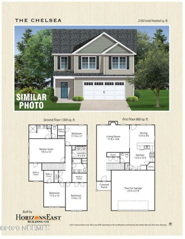 The Chelsea floorplan offered by Horizons East in Marsh Haven Landing is 4 bedrooms and 2 1/2 baths.   Brand New Construction home with approximately 2160 square feet and walk in closet in each bedroom.Minutes from the beach, MARSOC and Camp Lejeune.  Builder reserves the right to alter floorplan and features.  Similar Photos and Floorplans are representation only.Call today for a personal showing!