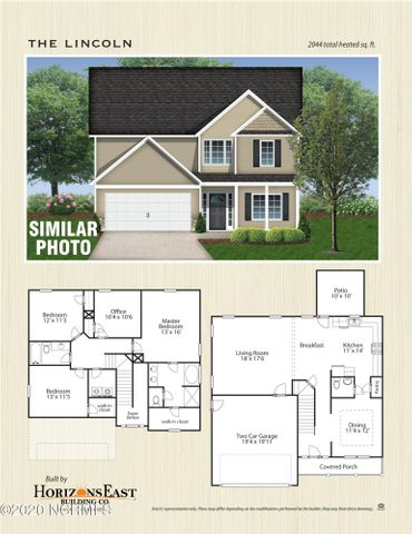 The Lincoln floorplan offered by Horizons East in Marsh Haven Landing is 3 bedrooms , 2 1/2 baths and an office.   Brand New Construction home with approximately 2044 square feet.Minutes from the beach, MARSOC and Camp Lejeune.  Builder reserves the right to alter floorplan and features.  Similar Photos and Floorplans are representation only.Call today for a personal showing!