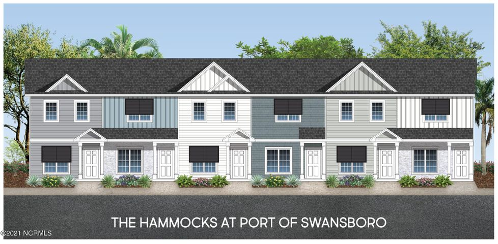 END UNIT TOWNHOME! Welcome to The Hammocks at Port Swansboro, Swansboro's premier townhome community just minutes from historic downtown Swansboro, Camp Lejeune, Crystal Coast beaches, dining, entertainment & more! The amazing interior features throughout are the most sought after and include granite countertops, painted cabinets, LVP flooring, oil rubbed bronze hardware and lighting, stainless appliances, and so much more! Upon entering, you'll love the spaciousness of the open concept living room and the beautiful LVP flooring. You will be amazed at the size of the kitchen and how much cabinet and counter space it offers! Just off the breakfast/dining area you'll find a covered patio giving you perfect place for enjoying a relaxing summer evening after visiting the beach! Upstairs you'll find two spacious bedrooms with ensuite bathrooms and large closets. For your convenience, the large laundry closet is located upstairs and there is a large storage closet off the patio offering additional storage space. There's even a community pool for days of fun! These stunning, well-priced townhomes in the very best of locations won't last long! Call us today to see them!