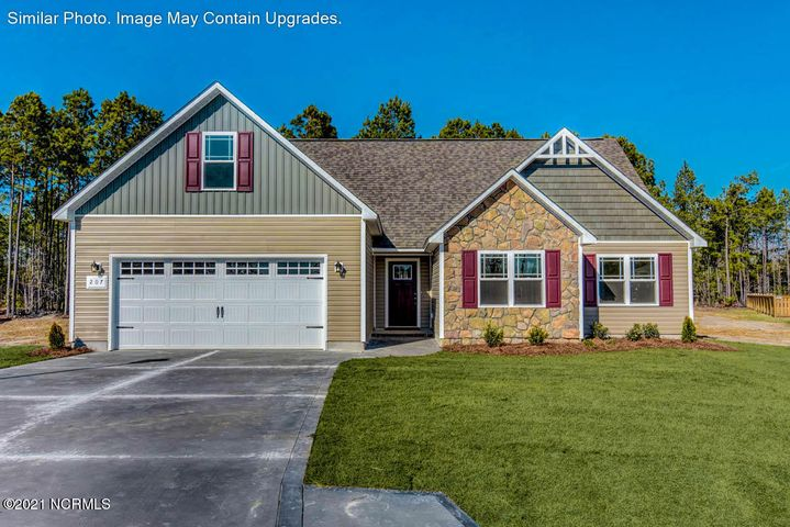 Welcome to the brand new subdivision Goulds Farm, a small community with new homes that include the finest of finishes and detail throughout and located only minutes to MCAS New River and Camp Lejeune, area beaches, shopping and more. Perfect location, yet no city taxes! The exterior of the homes are pristinely landscaped for added curb appeal and adorned with a mixture of eye-catching stonework, carriage-style garage doors, low maintenance vinyl siding, and board and batten and/or decorative shakes. The open floor plans are perfect for entertaining and togetherness. The rich cabinetry finishes combined with the warm wall color offer you the look you've been thinking of! The large bedrooms and walk-in closets (per plan) are sure to please! Home sites are available to have your favorite plan built to reflect your specific color and finish choices! *Please inquire for more specific information and home site availability. These diverse floor plans will also ensure that your needs for both functionality and aesthetic appeal are always met! Very affordable, yet built with superior quality standard and outstanding builder warranty, this community's convenient location, gorgeous homes, and value are an extremely rare find and selling quickly. Call for more information and your personal showing today!
