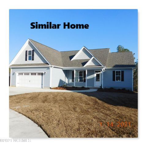 Brand New Build with Water View in Swansboro Shadow Creek Estates. 4 Bedroom 2 Bath ( 4th Bedroom/Bonus) with covered front and rear porches. Now is time to pick colors. LVP flooring on main level, carpet upstairs, Granite in Kitchen. SS Appliances, upgrade cabinets with soft close upper and lowers. 9ft Smooth Ceilings. Quite neighborhood with sidewalks and street lights. Only 2 miles to Hwy. 24 Shopping restaurants and schools. Convenient  to Military bases. Plan subject to change