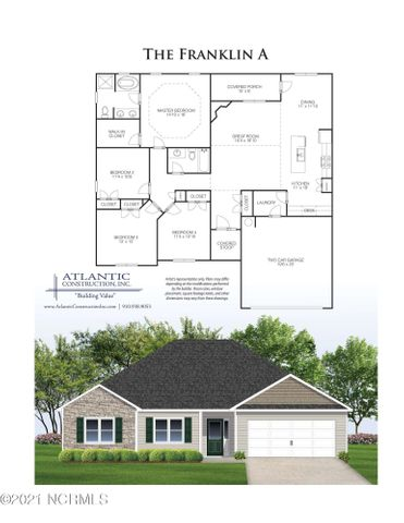 Atlantic Construction is now building their affordable homes in Sewell Fields of Verona! The Franklin plan is all about one story living with 1821 heated square feet & the space to meet your needs! It's got the open living area everyone wants with a corner gas fireplace, a spacious kitchen with a work  island & a pantry, work station for a home office or virtual school, plus there's a covered porch off the dining area. The owner's suite features a trey ceiling with a walk in closet, double vanity sinks, and a separate soaker tub and walk in shower in the bathroom. The Bonus room might be the perfect spot for a home office, game room, or play room for all those toys! There's a minimal HOA and no city taxes in this community, and you are just a short drive from MCAS New River, Camp Lejeune, Stone Bay, or the beaches of Topsail Island.  Act quickly and you can pick the colors you want to suit your own style! These affordable homes are close to everything but far from expensive! Plus the builder is offering $4000 in closing costs with an acceptable offer and a comprehensive warranty. Call a Realtor today for more information on this brand new home!