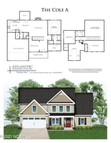 Atlantic Construction is now building their affordable homes in Sewell Fields of Verona! The Cole plan features 1886 heated square feet & the space to meet your needs both upstairs and downstairs! The ground level has a spacious living area with a gas fireplace, a U-shaped kitchen with a pantry, & a formal dining room. The main level owner's suite features a trey ceiling with a huge walk in closet, double vanity sinks, and a separate soaker tub and walk in shower in the bathroom. Upstairs are the other two bedrooms plus a shared bath, and the bonus room might be the perfect spot for a home office, game room, or play room for all those toys! There's a minimal HOA and no city taxes in this community, and you are just a short drive from MCAS New River, Camp Lejeune, Stone Bay, or the beaches of Topsail Island. Act quickly and you can pick the colors you want to suit your own style! These affordable homes are close to everything but far from expensive! Plus the builder is offering $4000 in closing costs with an acceptable offer and a comprehensive warranty. Call a Realtor today for more information on this brand new home!