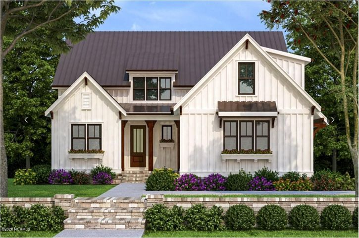 Crown Pointe - Phase 3 Introducing the Farmhouse Collection! The Dahlia floor plan sits on over a half acre estate home site. Covered front porch featuring metal roof accents. Entering the two-story foyer you'll find a trim package that will blow away your expectations. Home office or Guest Suite on first floor off the Foyer. Open floor plan is wonderful for entertaining or a large family! Great Room has gas fireplace with shiplap surround. Telescoping slider door opens up to the oversized Screened-In Back Porch. Kitchen has quartz counters, large island with farm sink, tile backsplash, stainless steel appliance package (refrigerator not included) custom wood cabinets with soft close doors and drawers plus under cabinet lighting standard. Dining nook right off the Kitchen completes this open 1st floor plan. Large walk in Pantry has perfect area for either a coffee or wine bar! 1st Floor Master Suite. Master Bath with dual sink vanity, custom tile shower and large WIC with wood shelving. 2nd Floor has 2 additional bedrooms, 2 full bathroom and a Bonus Room. Walk in mudroom and laundry off of main living space. Covered front porch, screened-in back porch, sod & irrigation on front, sides and back yard with separate well for irrigation only. Located only 7 minutes from Topsail Island and Surf City Beaches. Topsail Schools. Crown Pointe includes double sidewalks, pool & clubhouse plus dock, gazebo and day-dock for boating. No cookie cutter details in this custom waterfront community!