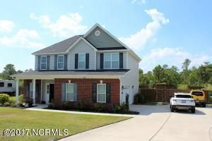 Newly Painted, and New Carpet and LVP flooring  Three bedroom, two and a half bath home located in Highlands at Queens Creek. Living room with fireplace, dining area, kitchen, and half bath on first floor. Second floor includes all three bedrooms, two full baths, and a bonus room. Screened in back patio and a landscaped, fenced yard. Community pool and recreation area. Convenient to area beaches, bases, and more.  See this one today!