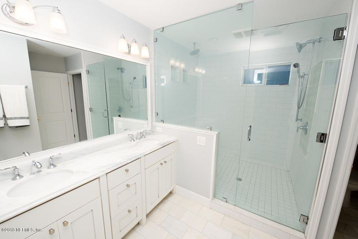 Beautifully renovated master bathroom with huge shower.