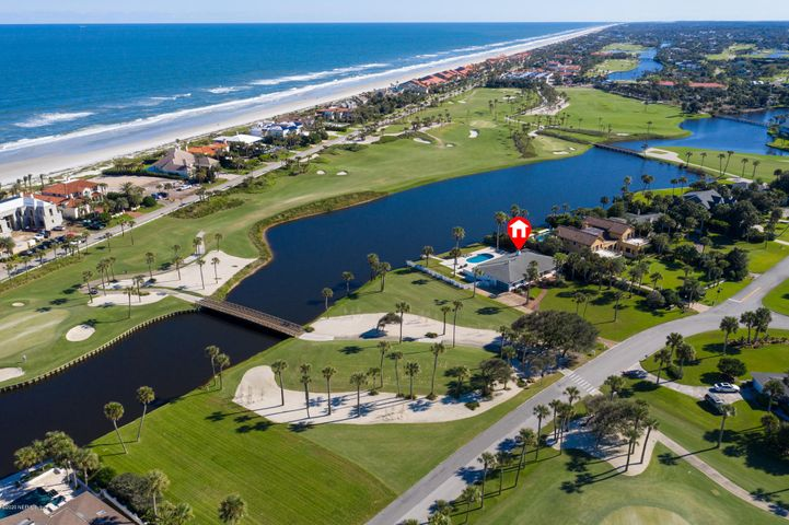 Arguably one of the best lots in Old Ponte Vedra. Oversized parcel with eastern exposure and stunning panoramic views of the PVIC Ocean Course. Charming established home with many recent improvements. Overlooking a large pool and open lanai that capture the sounds and breezes off of the ocean. Situated opposite a large buffer from the #16 par 3 tee box giving it additional northern exposure and open space. Enjoy life in this updated and inviting Old PV home - or build the home of your dreams. Estate size lot is 120' X 230' (.65 acre) allowing for generous footprint and much design flexibility.  Truly an opportunity of a lifetime.