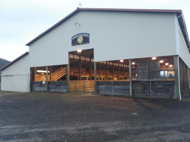 Established horse facility . 12,096 square foot indoor riding arena in excellent condition with 8 quality built stalls with turnouts, 2 tack rooms and a wash room. Decomposed granite and rubber shavings in the arena. Currently used as horse training facility but the structure could easily be enclosed. 4.6 acres of irrigation from the Eagle Point Irrigation District. Nice flat pastry below the barn fronting Highway 62. Small greenhouse with power., The well was last tested at 22 gallons per minute. The well has a state of the art filtration system large enough for home use. This is a quality facility.