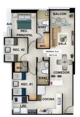 Apartamento Panama>Panama>Vista Hermosa - Alquiler:1.100 US Dollar - codigo: 20-6754