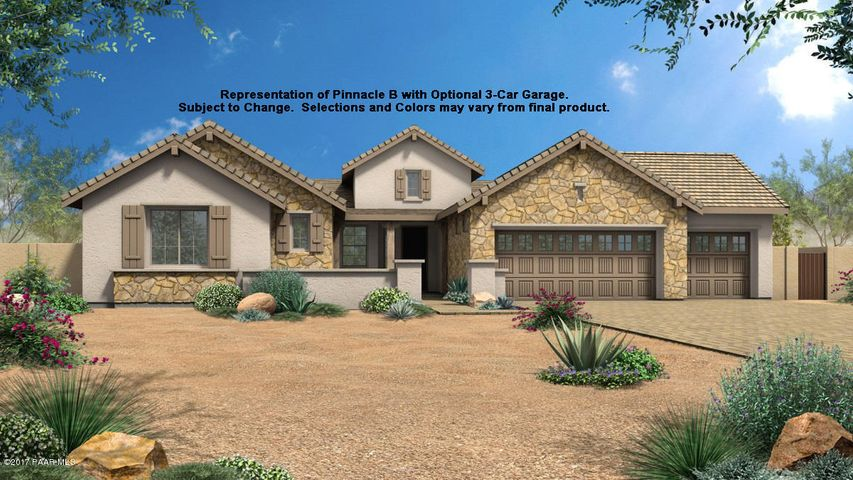 Representation of Pinnacle Plan Elevation B with optional 3rd car garage. Subject to change. Selections and colors may vary.