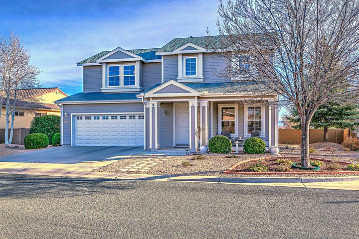 Nice Corner Location with Beautiful Mingus Mountain Views! Sunny Covered Front Porch with Easy Care Landscaping and Mature Shade Trees!