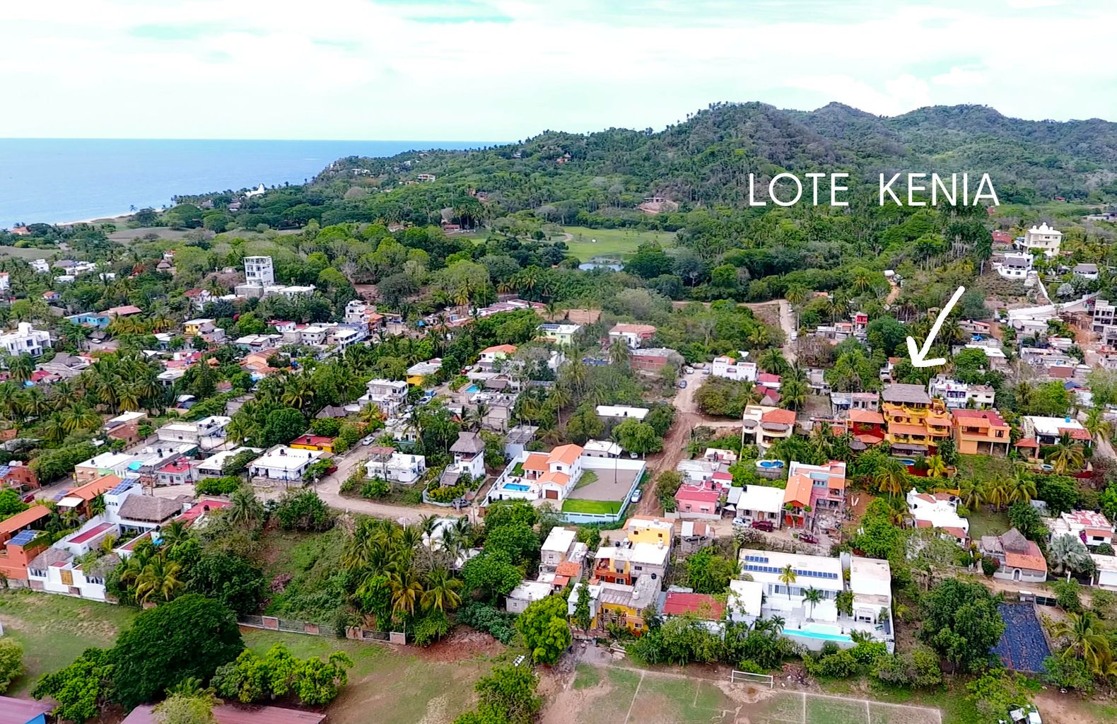 Aerial view of the lot in relation ocean