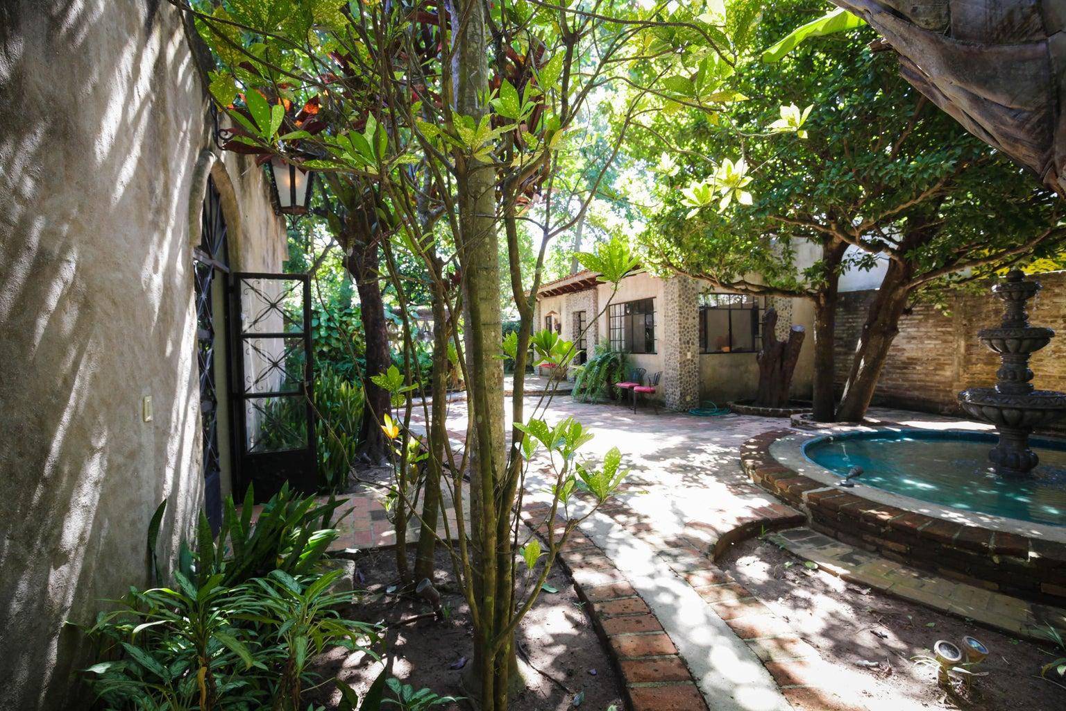 Courtyard between sound studio and master bedroom