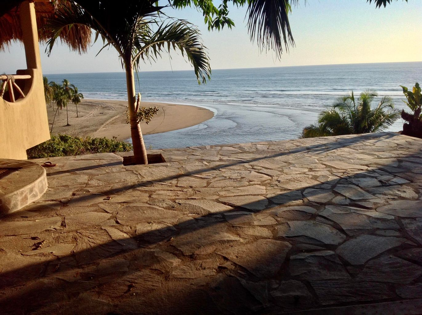 Outdoor patio with spectacular view of Playa las Tortugas beach and ocean