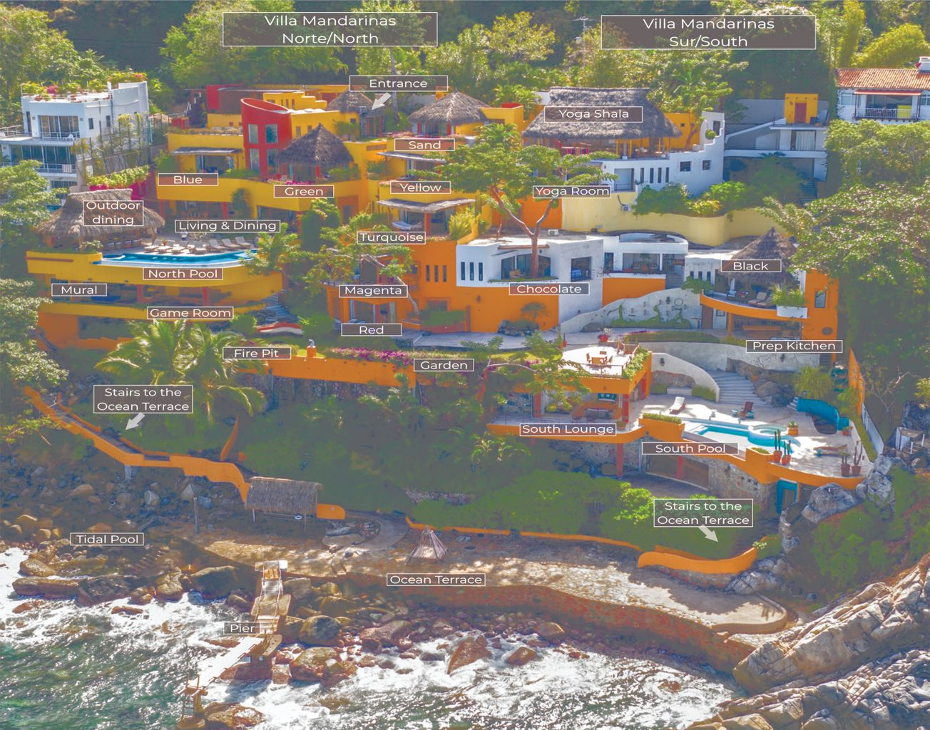 Aerial showing both villas for the entire estate.