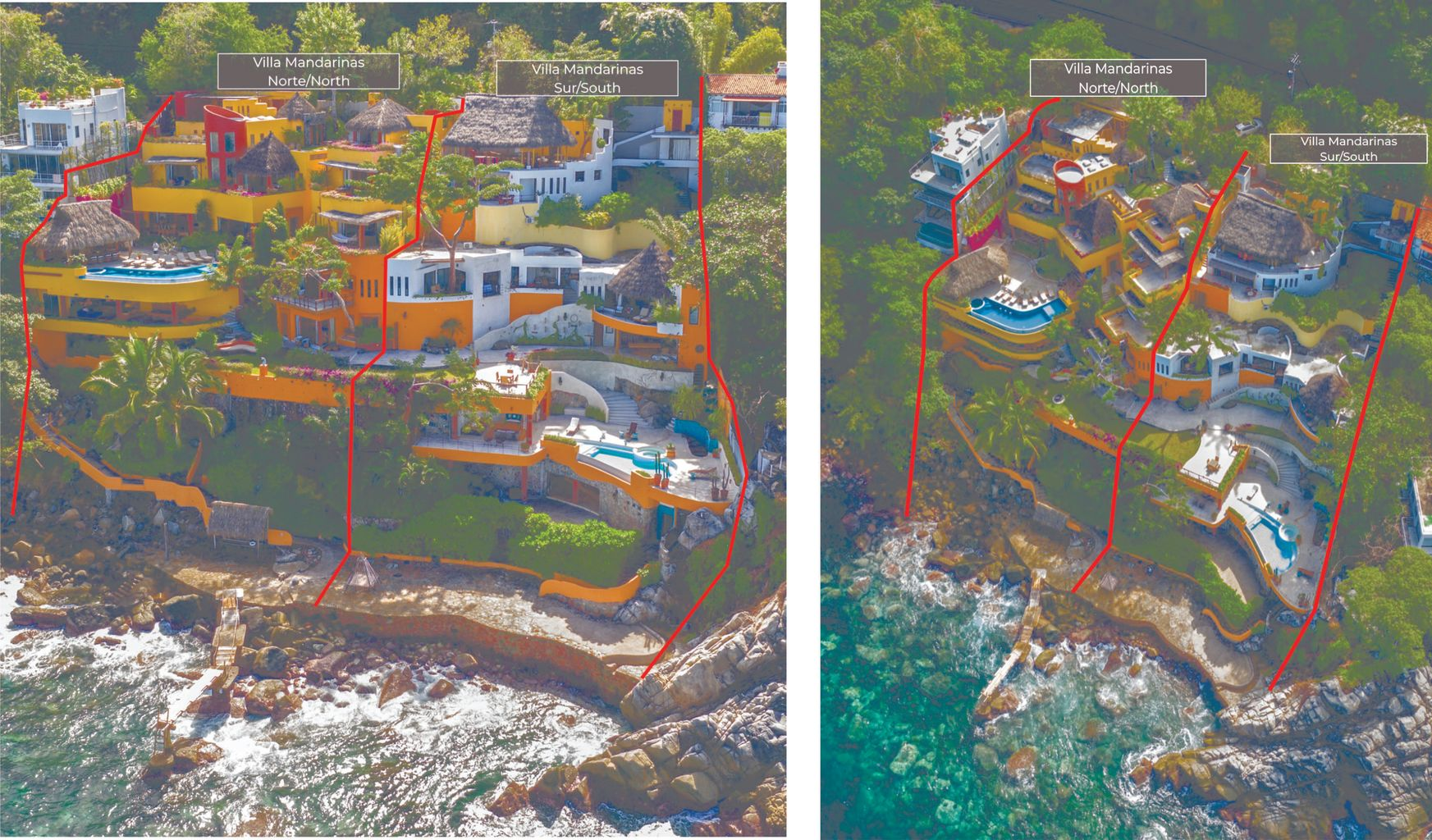 Red lines indicate the separation of both properties. Large villa is listed for sale.