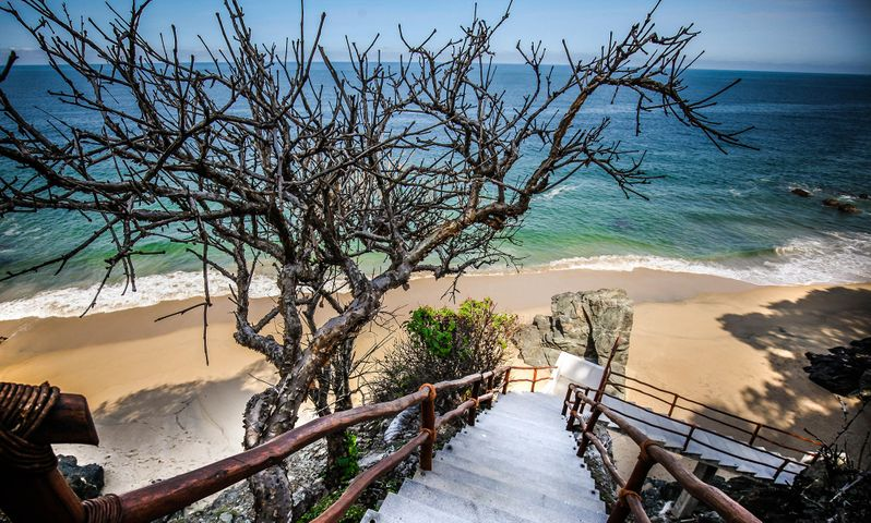 stairs down to the private beach
