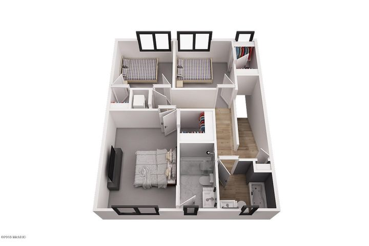 3D rendering of 3 bedroom units