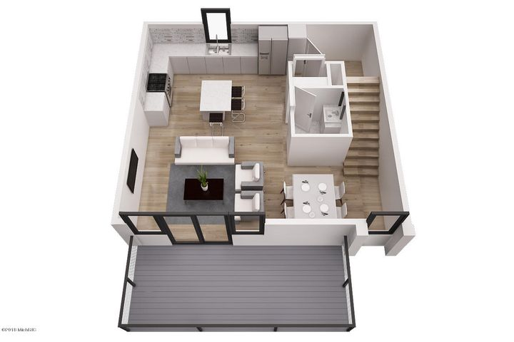 This is not the exact rendering of 621 Fairview #4. This listing has a 24' x 8' private deck facing west toward downtown.
