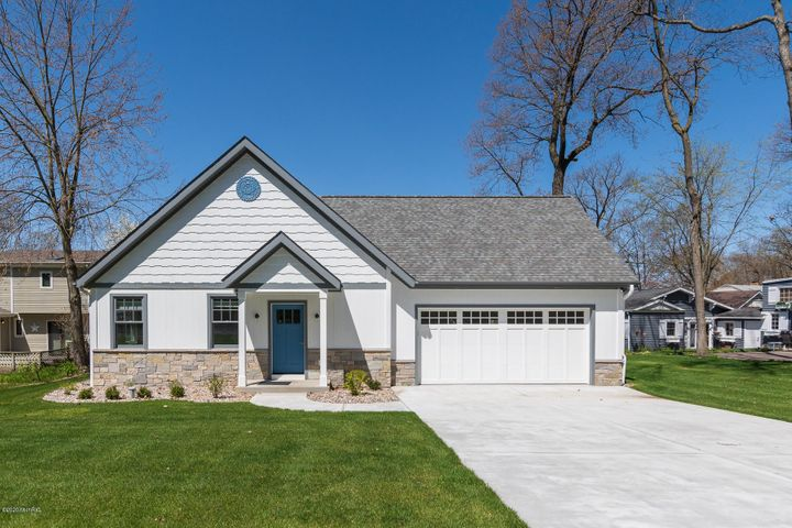 266 East Gull Lake Drive newly built in 2020; 60' of pristine Gull Lake waterfront, 3,000 sq ft of finished living space and 2,700 sq ft unfinished lower level; 3 bedroom suites; 3.5 baths; cathedral ceilings; open floor plan with custom kitchen; 2-car garage and MOVE-IN READY!!
