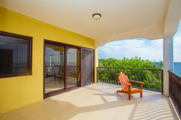Spacious patio offers ocean views