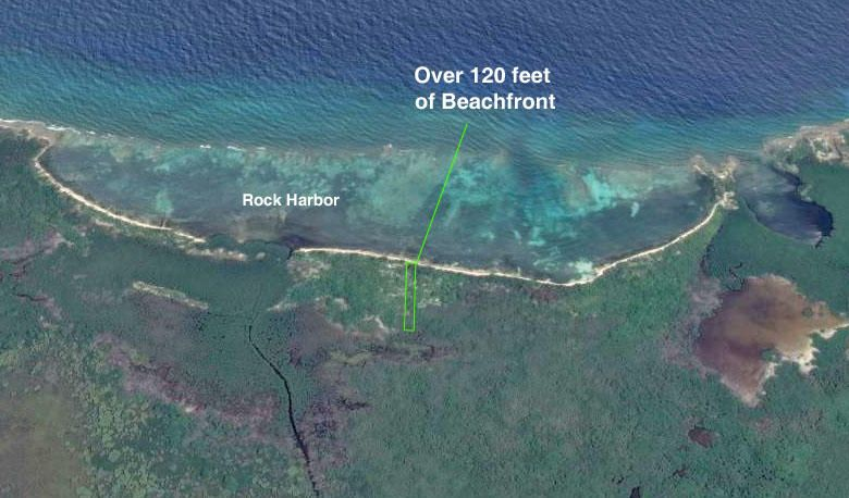 120 ft Oceanfront Rock Harbor, 2 acres! Secluded Beach, Utila,