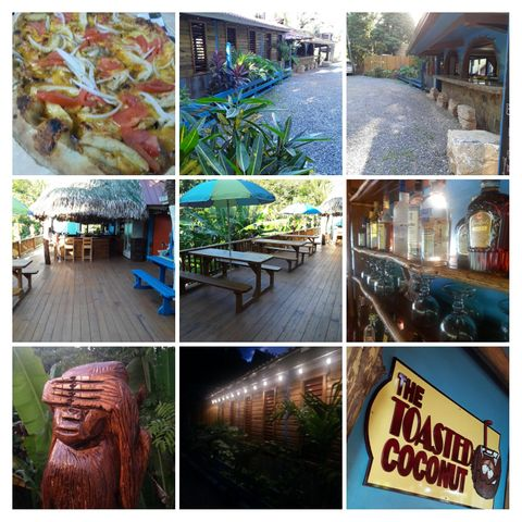 /Toasted Coconut Bar &Property, Papa Bones Pizza, Roatan,