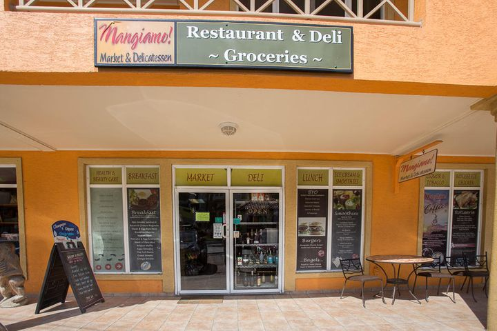 Entrance to Mangiamos Market and Deli - located in units 2 and 3 at West Bay Mall