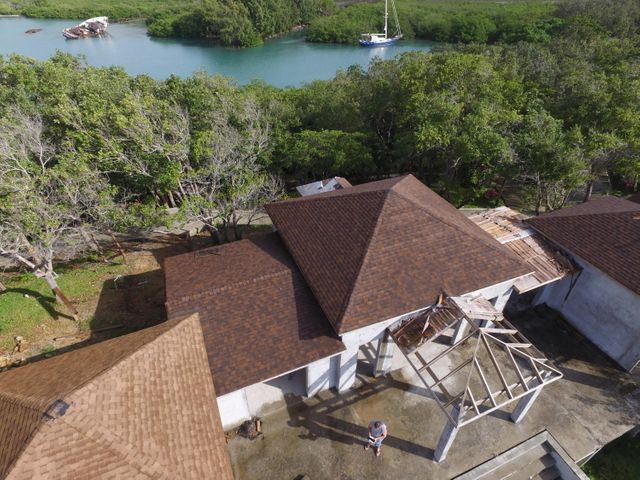 Aerial view of this partially completed home