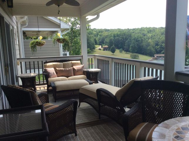Deck overlooks the lake