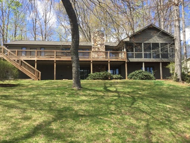Large lakeside deck and lower level patio has weather proof so plenty of area to entertain