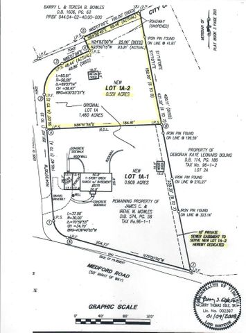 Note: 10' Sewer easement from Medford Road