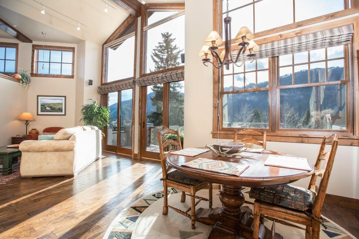 Open living area with high ceiling, views of Baldy to the West. Access to terrace.