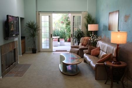 Living room open to backyard!