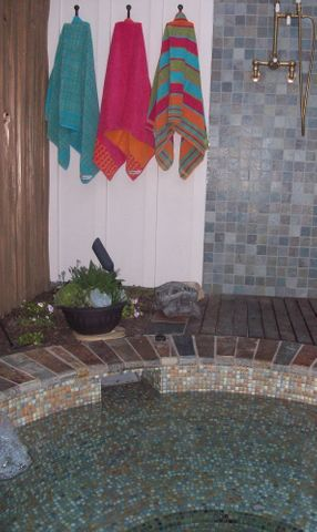 Custom Hot Tub with Gorgeous Glass Tile