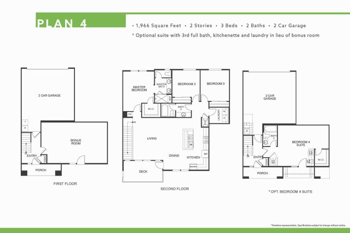 Plan 4 with downstairs suite option included.