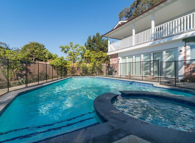 Pool view with safety fence