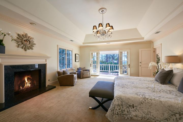 Master Bedroom with Fireplace and View