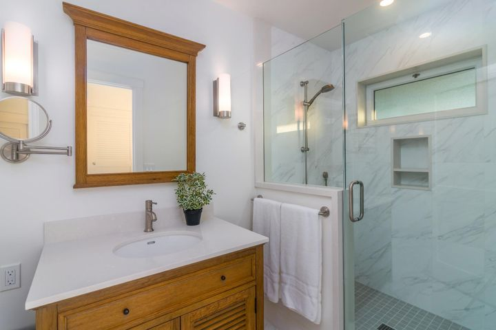 ensuite bathroom with the guest bedroom