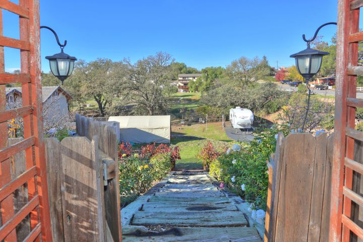 View to trellised garden