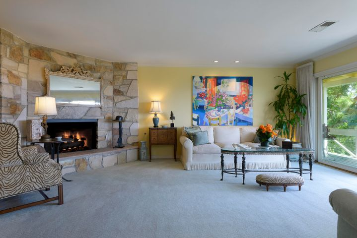 Spacious Living Room Stone Fireplace