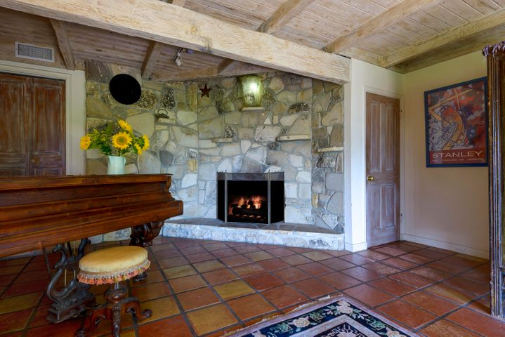 Downstairs Stone Fireplace