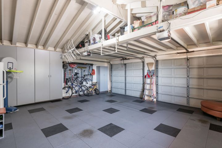 Finished garage with storage