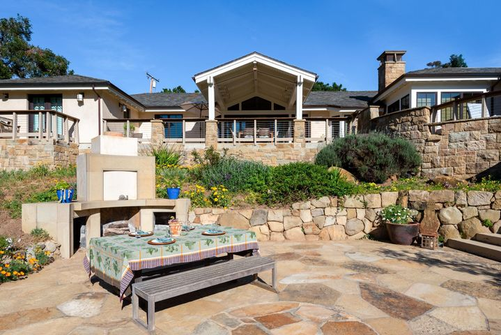 Backyard with Stone Fireplace