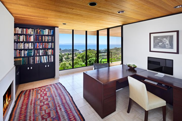 Master Study with fireplace and views