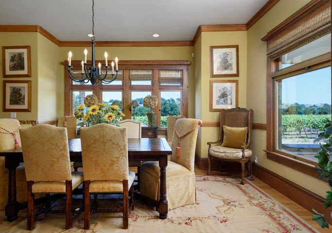 Formal Dining with vineyard views