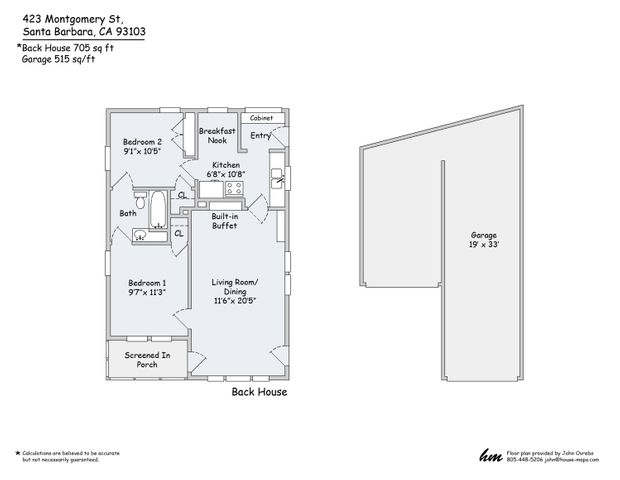 Back House & Garage Floor Plan copy