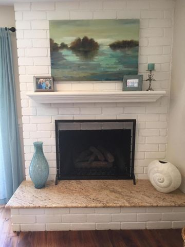 fireplace with granite hearth